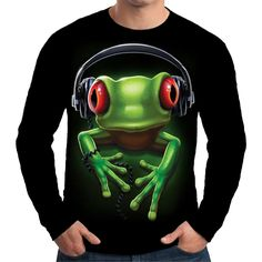 Velocitee Mens Long Sleeve T Shirt Frog Rock Music DJ Rave Festival A18618 #Velocitee