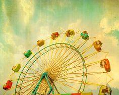 Carnival art circus print Ferris wheel carnival photography babys room mint green nursery wall art - 5x7 - Grand Wheel. $20.00, via Etsy.