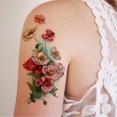Antique floral tattoo