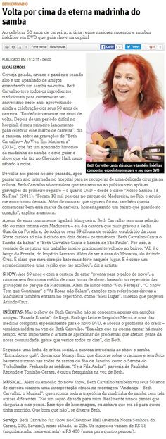 #BethCarvalho 2015 O Tempo #50AnosDeCarreira