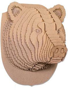 Cardboard Safari CBS1118 Stewart Cardboard Bear head, Medium, Brown,Medium ❤ Cardboard Safari