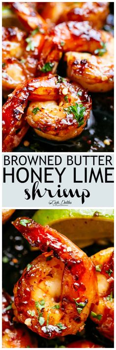 Browned Butter Honey Lime Shrimp with a subtle hint of Chili will become your new favourite shrimp recipe!Shrimp that tastes like something straight out of a restaurant, this Browned Butter Honey Lime Shrimp feels Fish Recipes, Seafood Recipes, Cooking Recipes, Healthy Recipes, Recipes Dinner, Recipies, Shrimp Dishes, Fish Dishes, Chili