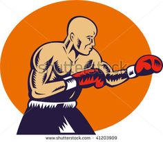 illustration of a boxer jabbing side view done in woodcut style #boxing #woodcut #illustration