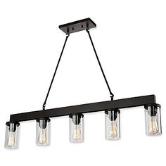 Light up your home with the dramatic styling of the Menlo Park 5-Light Island Fixture from Artcraft Lighting. This oil rubbed bronze fixture features wooden accents and boasts cylindrical glass shades for a touch of industrial style.