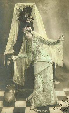 Florence Smithson, Edwardian English Theatre Actress & Singer as Oriental Exotic Harem Princess Original Rare 1900s Photo Postcard