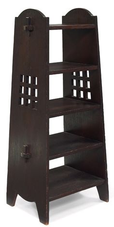 """Arts and Crafts magazine stand, manufactured by Miller Cabinet Company, New York, five shelves supported by square cut-out slab sides with key and tenon construction, good original finish, signed with paper label, 20.5""""w x 15.5""""d x 45.5""""h 