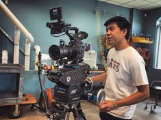 Intern Chris from at Boston University on his last day in QC checking in a Canon with an Angenieux lens on an Arri Head. Boston University, Camera Equipment, Good Cause, Cinematography, Filmmaking, Workplace, This Is Us, Engineering, Education