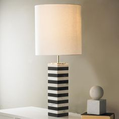 Blue And White Striped Marble Table Lamp