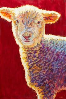 "Colorful Contemporary Lamb Art, Sheep Painting Farm Animal ""Dutch"" by Contemporary Animal Artist Patricia A. Griffin-72""x48"" Oil on Linen-Available"