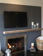 Love the idea to balance out our off center fireplace with a basket that holds a comfy blanket to curl up next to the fire with.