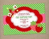 Custom Printable Strawberry Birthday Party Invitation