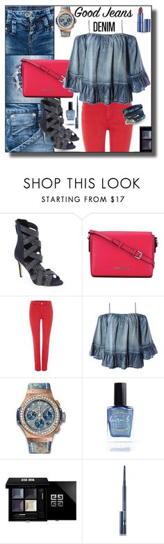 """All Denim, Head to Toe"" by sabine-713 ❤ liked on Polyvore featuring Daya, Armani Jeans, Sans Souci, Hublot, Lauren B. Beauty, Givenchy, Clinique and Lipstick Queen"