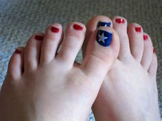 For Fourth of July  But alternate red/white on little toes