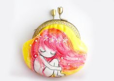 Embroidery Fairy Coin Purse Metal Frame by lazydoll on Etsy