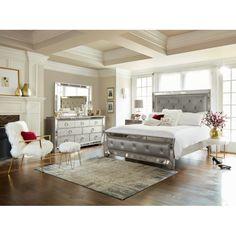 Bedroom Furniture - Angelina 6-Piece Queen Bedroom Set - Metallic