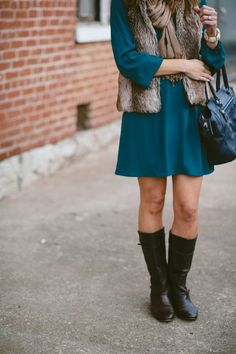 Emerald Teal Everly Dress * Fur Vest * Navy Coach Bag * Frye Boots * Casual Winter Looks