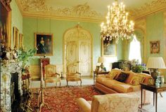 The Drawing Room - Highclere Castle - Downton Abbey - has brought back the romance and grandeur of the Victorian era. In Alfred de Rothschild gave his daughter Almina bolts of green French silk from which to decorate this lovely south facing Drawing Room. Decor, Interior Design, Downton Abbey House, Highclere Castle Floor Plan, Castle Floor Plan, Home, Abbey House, Highclere Castle Interior, Castle