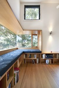 Bench seating plus storage and huge windows. Yes!!!