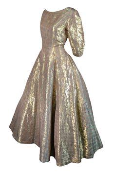 Vintage Hattie Carnegie dress from 1950s in gold and aqua metallic