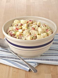 Use red potatoes in this Best Potato Salad Ever recipe. Their waxy texture keeps the spuds intact as you mix everything together. #dinnerideas #recipes