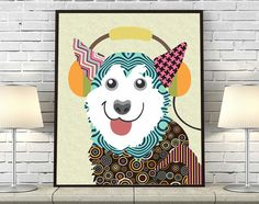 Siberian Husky Dog Pop Art Poster, Dog Humor Giclee Art Print, Colourful Pet Poster, Animal Art Print, Dog Lover Gift AVAILABLE @ $15