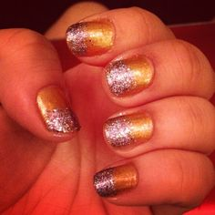 Gold and glitter nails