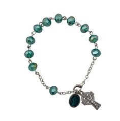 """Irish Rosary 8"""" Length Bracelet with Sun Cut 6 x 8 mm AB Glass Beads with .5"""" Celtic Crucifix and Miraculous Medal Dangle With St Patrick Irish Blessing Holy Card in a Gift Box"""