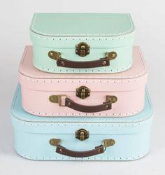 Vintage Koffers (set van 3 stuks) Pastel groen, roze en blauw - Lekker Retro