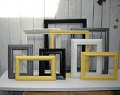 Upcycled frame set collection of 9 frames -  grey yellow black and white picture frame wall gallery