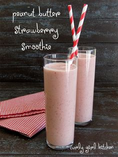 Peanut Butter Strawberry Smoothies 1 cup frozen strawberries 1 cup non-fat Greek yogurt 1/2 cup skim milk 4 tablespoons creamy, all-natural peanut butter 1-2 tablespoons honey or agave nectar 1/4 teaspoon vanilla