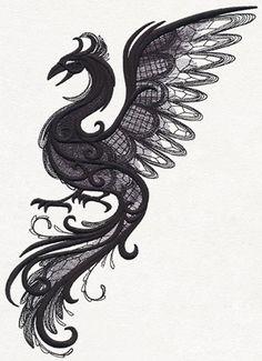 Dark Creatures - Phoenix design (UT11799) from UrbanThreads.com