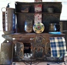"Antique 1800s Handcrafted Dollhouse Tin Metal Stove W/ Accessories12"" x 12"" RARE #Handcrafted"