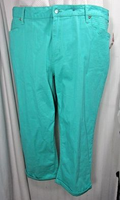 New Directions Capri pants Mint Green Size 22 Womens jean style chrystals NWOT #NewDirections #CaprisCropped