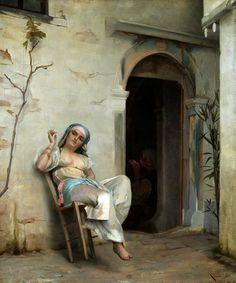 Theodore Jacques Ralli Turkish Woman Smoking (In the Courtyard) 1887 Greek Art, Women Smoking, Classical Art, Arabian Nights, Old Master, Art Reproductions, Museum, Great Artists, Art History