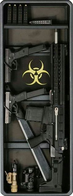 Minimal zombie readiness kit: personal I would carry that amount of ammo and a sawed-off shotgun Weapons Guns, Guns And Ammo, Home Defense, Self Defense, Ak47, By Any Means Necessary, Fire Powers, Cool Guns, Survival Gear