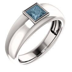 Platinum Princess Cut Blue Diamond Solitaire Ring