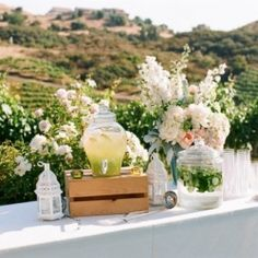 Classic Romantic Ranch Wedding lemonade table, photographed by Picotte Photography