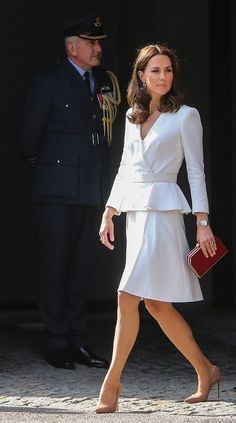 Wills and Kate and George and Charlotte Arrive in Poland - Duke Duchess Cambridge - 6 Duchess Kate, Duke And Duchess, Duchess Of Cambridge, Kate Middleton, Peplum Dress, Charlotte, Health Fitness, White Dress, Dresses For Work