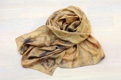 Shibori Silk Scarf  Unique Eco Print Silk Scarf by alabatis