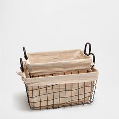 BLACK METAL PLAID SQUARE BASKET - Baskets - Decoration | Zara Home United States of America