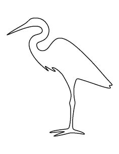 Egret pattern. Use the printable outline for crafts, creating stencils, scrapbooking, and more. Free PDF template to download and print at http://patternuniverse.com/download/egret-pattern/