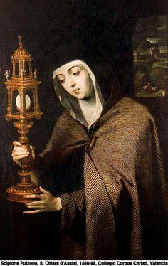 Santa+Chiara+d'Assisi,.jpg religiosa y santa italiana. Seguidora fiel de san Francisco de Asís, con el que fundó la segunda orden franciscana o de hermanas clarisas