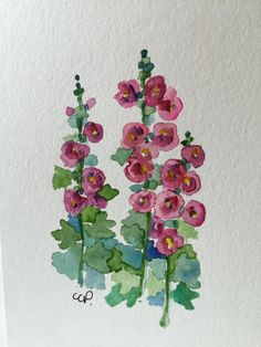 Hollyhock Watercolor Card / Hand Painted by gardenblooms on Etsy