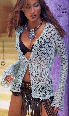 Receitas de Crochet: Linda blusa renda de crochet