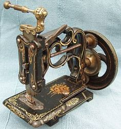 This early chain-stitch sewing machine, which dates to the late1860's, was produced by Charles Raymond, Guelph, Canada. It was sold in the U.K. by James Weir as The American Hand Sewing Machine, and has Jas G. Weir, along with their shop address - 2 Carlisle Street London - stamped on the needle-plate. Vintage Sewing Notions, Vintage Sewing Patterns, Couture Vintage, Sewing Machine Accessories, Antique Sewing Machines, Sewing Tools, Vintage Antiques, Hand Sewing, Old Things