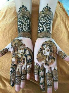 30 innovative Mehndi designs for Krishna Janmasthami Modern Mehndi Designs, Dulhan Mehndi Designs, Wedding Mehndi Designs, Mehndi Design Pictures, Mehndi Designs For Hands, Mehendi, Mehndi Images, Mehndi Tattoo, Henna Tattoo Designs