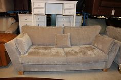 EX ALEXIS 3 SEATER SOFA AND LOVESEAT + STORAGE FOOTSTOOL IN MINK PLAIN FABRIC | eBay