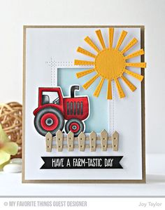 Handmade card from Joy Taylor featuring Farm-tastic stamp set and Die-namics, Farm Fence, Sunny Skies, and Lisa Johnson Designs Rectangle Peek-a-Boo Window Die-namics #mftstamps