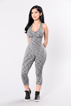 - Available in Grey - Razor Back Jumpsuit - Spandex Stretch - Stripe Detail - Sleeveless - Scoop Neckline - Can be used as Active Wear - Made in USA - 92% Polyester 8% Spandex