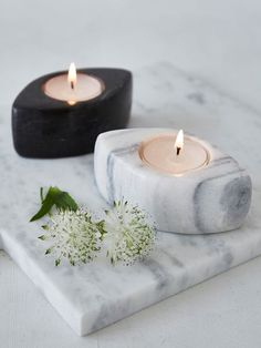 Marble white present Marble Tealight Holders